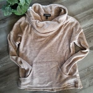 Inspired Hearts size S tan cowl neck sweater